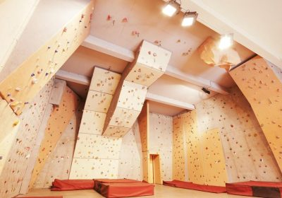 Climbing wall and boulder zone