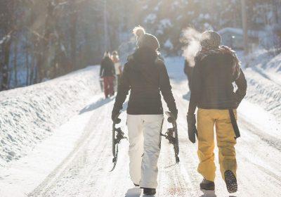A moonlit snowshoe hike